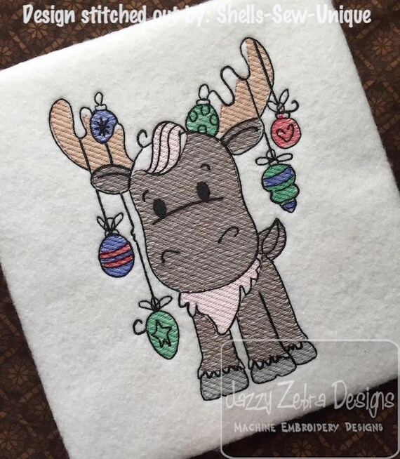 Christmas Moose sketch embroidery design - Christmas Reindeer sketch embroidery design - Christmas sketch embroidery design - reindeer