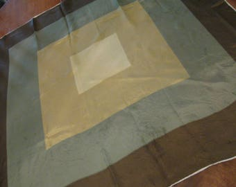 Huge Square Silk Scarf Shades of Green Hand Rolled 70's