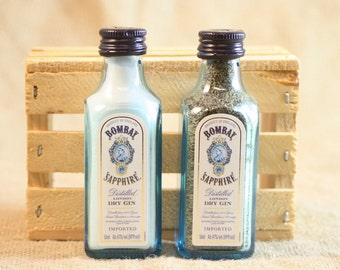 Salt & Pepper Shaker from Upcycled Glass Bombay Sapphire Gin Mini Liquor Bottles
