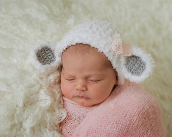 Newborn Lamb Hat, Newborn Hat, Spring Hat, Easter Hat, Animal Hat, Boy hat, Girl Hat, Photo Prop, Newborn prop, Lamb Hat, Lambie Hat