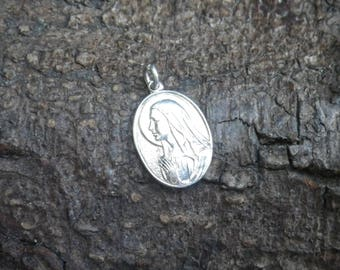 Vintage Sterling Silver Ave Maria Charm Pendant