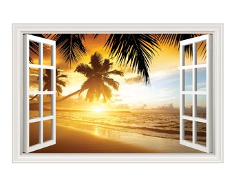 Beach Ocean Palm Trees Sunset Wall Decal Sticker Graphic - 4 Sizes Available
