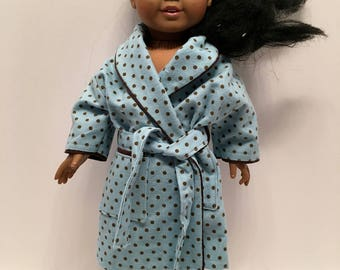 DN5- American Girl and Maplelea Housecoat: blue polkadot soft flannel with tie