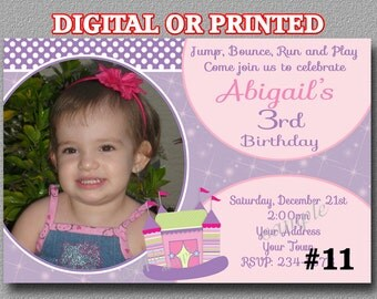 Bounce House Invitation with Photo YOU PRINT or PRINTED Girl Jump Party