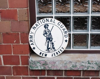 National Guard New Jersey Sign Vintage VFW Hall Sign