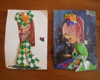 2 Retro Vintage Fashion Hankie Cards - Vintage 1970's Hankie Clothing Fashion Postcard Postcards - Groovy Hanky Hankerchief Keepsake Cards