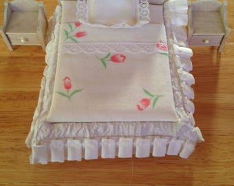 Vintage doll bed with end tables