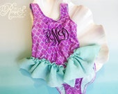 Personalized Mermaid One Piece Girls Swimsuit - Custom Monogram Ruffle TuTu Fin - Fish Scales Toddler Bathing Suit - Purple Plum & Teal