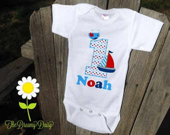 Personalized Sailboat Birthday Bodysuit - Sailor Infant One Piece - Birthday Personalized Bodysuit T-Shirt - Custom Baby Boy Birthday Outfit
