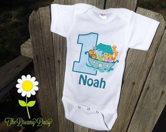 Personalized Noah's Ark Birthday Bodysuit - Boy Noah's Ark Birthday Outfit - Birthday Personalized Bodysuit T-Shirt - Custom Baby One Piece