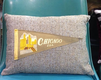 vintage Chicago pennant pillow