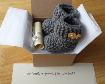 Baby Booties, Pregnancy Announcement, Crochet Baby boots, Pregnancy reveal, Ready to Ship !