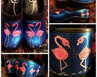 Custom painted Flamingo Sanita Clogs. Designed and personalized just for you!