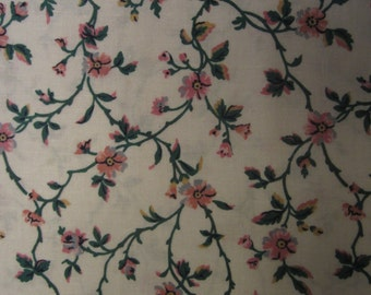 1.5 yds White Floral Print Fabric