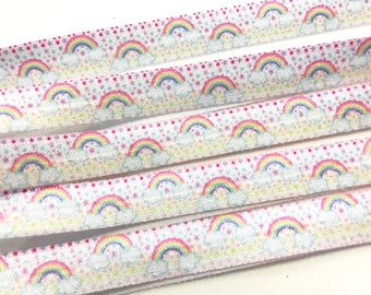5 Yard Lot Pastel Rainbows & Clouds Print Fold over Elastic FOE Elastic Yoga Hair Ties and Headbands