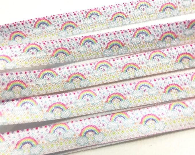 5 Yard Lot Pastel Rainbows & Clouds Print Fold over Elastic FOE Elastic Yoga Hair Ties and Headbands