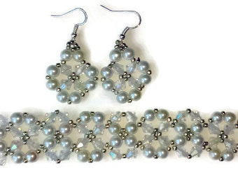 Pearl and Crystal Wedding set
