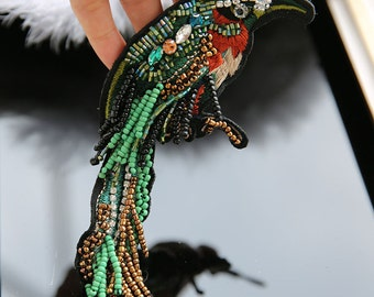 Bird with beaded sequined applique patch sew on patch embroidered