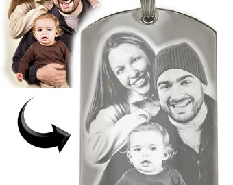 Personalized Photo Dog Tag Custom Engraved Your Picture Text Necklace Pendant + Free Engraving