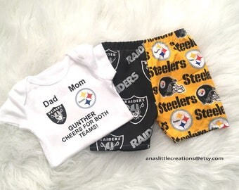 Custom House Divided Football Bodysuit ( Raiders- Steelers) I Cheer For Both Teams and Pants or Shorts 2pc Set