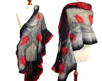Shawl dresses for weddings, party, gray black red, unique, silk and merino wool from Australia Nuno felt, felted, nuno felting