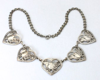 Vintage Old Coin Silver Love Bird Heart Chain Link Necklace Love