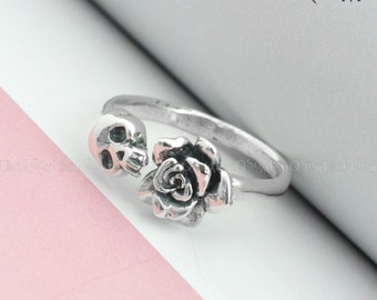 925 Sterling silver Skull Ring, Rose skull silver ring, Unique Jewelry, Women Lady adjustable Ring