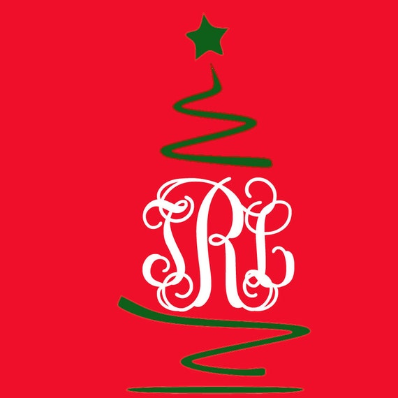 Swirl Christmas Tree Monogram Svg Design