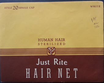 Vintage 1930's ? Just Rite Hair Net Human Hair Sterilized Single Cap White Color New Old Stock