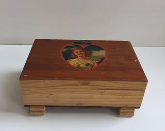 Vintage Wood Souvenir Box La Junta Colorado 1940s Forties