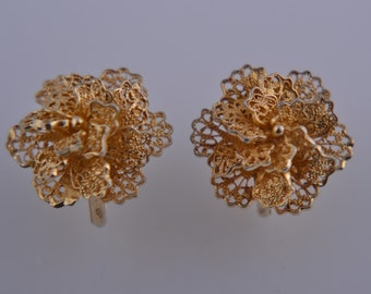 Silver Gilt Filigree Flower Screw On Earrings (586aa)