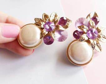 Vintage Flowers bouquet and rhinestone earrings, Purple and gold metal leaf, faux pearls, clip on 80s