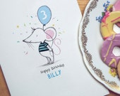 Personalised Age Balloon Card / Children's Age Birthday card
