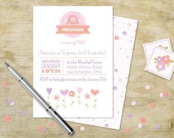 Pink Flower Birthday Invitation | Pink Flower Printable Invitation | Digital Invitation | Printable .PDF