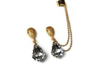Gold ear cuff earrings, Dangle drop Earrings, Chain cuff earrings