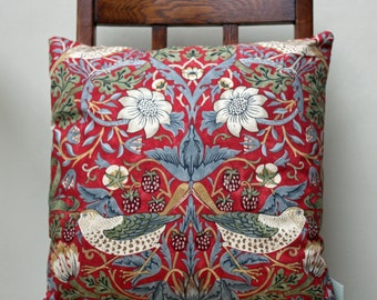 "William Morris Strawberry Thief Crimson Complete Cushion 16"" x 16"" - Sanderson Fabric"