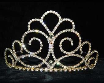 """Style # 15202G - Titan's Queen Tiara - 3"""" - Gold Plated"""