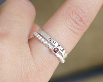 Silver garnet ring, january birthstone ring, birthstone stacking ring, silver jewellery, birthstone jewellery, silver ring, gifts for her