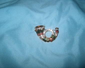 Costume Jewelry Monet Horn Pin, Christmas Pin, Rhinestones