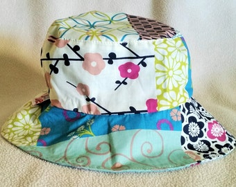 Toddler/ Kids Reversible Bucket Hat - Patchwork/ Whales
