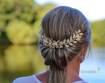 Gold Leaf  hair comb, Wedding Hair Piece ,Bridal Headpiece ,Grecian Hair Comb ,Laurel Headpiece, Wedding  hair comb-JESSICA