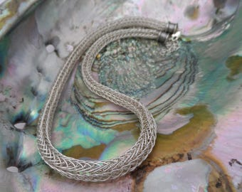 "Sterling Silver 17""-19"" Viking Chain Knit"