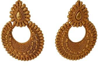 Wedding Earrings Gold Chandbali for Women Indian Earrings Gold Indian earrings