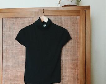 1990's VTG 'Ann Taylor' 100% Silk Black Short Sleeve Ribbed Knit Turtleneck Top Size M