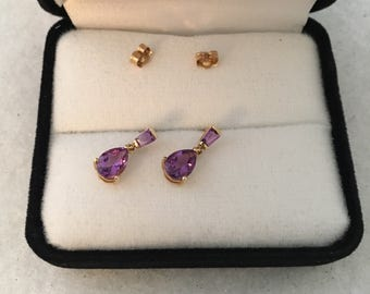 Stunning 14K Gold Amethyst Faceted Pear Drop Dangle Design 585 Yellow Gold Earring Striking Color