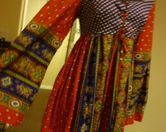 Colorful and Festive 70's Boho  Holiday Maxi Dress  with Empire Waist and Graceful Bell Sleeves