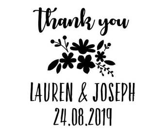 """Floral Bouquet Thank You Stamp, personalised stamp, name and date stamp, wedding favours stamp, wedding stationery, 1.5""""x1.8"""" (cts175)"""