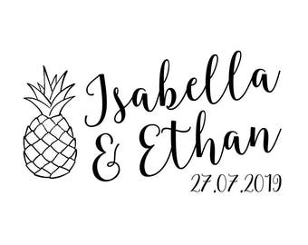 """PINEAPPLE WEDDING STAMP, personalised stamp, save the date stamp, tropical wedding stamp, beach wedding stamp, 2.75""""x1.5"""" (cts184)"""