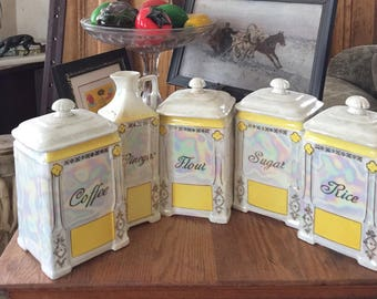 Gorgeous Antique Porcelain Canister Set, Czech Lusterware, Yellow and Gold