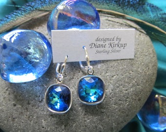 Bermuda Blue Swarovski Cushion Cut Crystal Earrings Presented on Sterling Silver  Lever Back Findings